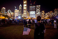 Barack Obama supporters fill a overflow area as supporters take to Chicago's Grant Park for the election night results for the presidential race between Sen. Barak Obama (D-IL) and Sen. John McCain (R-AZ) Tuesday Nov. 4, 2008 Chicago IL.