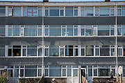 The windows of a 4 storey low-rise building on a housing estate in Norwich, Norfolk. United Kingdom (photo by Andrew Aitchison / In pictures via Getty Images)
