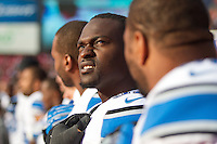 16 September 2012: Defensive end (92) Cliff Avril of the Detroit Lions stands with his teammates during the National Anthem before the San Francisco 49ers 27-19 victory against the Lions in an NFL football game at Candlestick Park in San Francisco, CA.