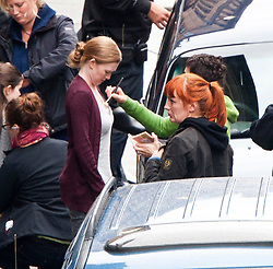 """Brad Pitt's co-star Mireille Enos the set of the movie """"World War Z"""" being shot in the city centre of Glasgow. The film, which is set in Philadelphia, is being shot in various parts of Glasgow, transforming it to shoot the post apocalyptic zombie film."""