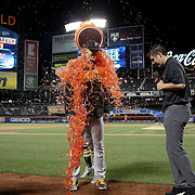NEW YORK, NEW YORK - June 14:  Pitcher Jameson Taillon #50 of the Pittsburgh Pirates has a bucket of Gatorade poured over him after pitching a shutout during the Pittsburgh Pirates Vs New York Mets regular season MLB game at Citi Field on June 14, 2016 in New York City. (Photo by Tim Clayton/Corbis via Getty Images)