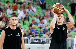 Gezim Morina and Matic Rebec during public training session of Slovenian National Basketball team, on August 1, 2016 in Arena Stozice, Ljubljana, Slovenia. Photo by Vid Ponikvar / Sportida