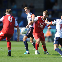 TELFORD COPYRIGHT MIKE SHERIDAN 1/9/2018 - Henry Cowans of AFC Telford battles for the ball with Bradley Jackson of Ashton during the Vanarama Conference North fixture between AFC Telford United and Ashton United FC.
