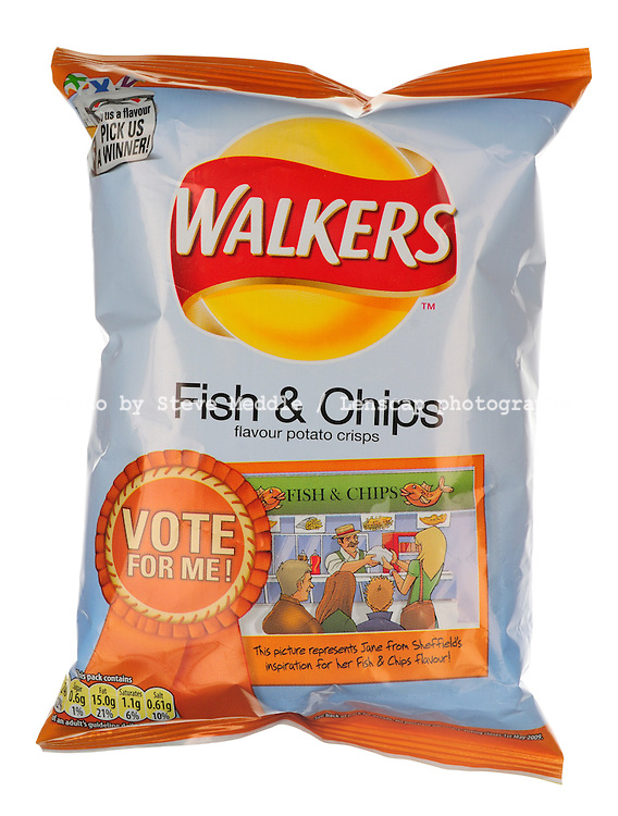 Packet of Walkers Fish & Chips Flavour Crisps