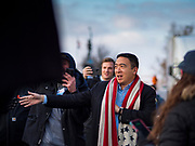 10 DECEMBER 2019 - DES MOINES, IOWA: ANDREW YANG arrives at the Iowa State Capitol for the start of his bus tour. Yang, an entrepreneur, is running for the Democratic nomination for the US Presidency in 2020. He kicked off a five day bus tour today at the Iowa State Capitol in Des Moines. Iowa hosts the the first election event of the presidential election cycle. The Iowa Caucuses will be on Feb. 3, 2020.         PHOTO BY JACK KURTZ