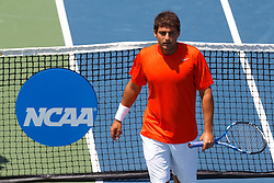 May 23, 2011; Stanford, CA, USA;  Michael Shabaz leaves the net after arguing a call during the semifinals of the men's team 2011 NCAA Tennis Championships against the Ohio State Buckeyes at the Taube Family Tennis Center.