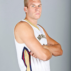Sep 30, 2013; Metairie, LA, USA; New Orleans Pelicans center Greg Stiemsma (34) poses for a portrait at Pelicans Practice Facility. Mandatory Credit: Derick E. Hingle-USA TODAY Sports