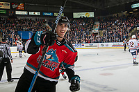 KELOWNA, BC - NOVEMBER 16:  Alex Swetlikoff #17 of the Kelowna Rockets celebrates a goal against the Kamloops Blazers at Prospera Place on November 16, 2019 in Kelowna, Canada. (Photo by Marissa Baecker/Shoot the Breeze)