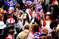 Crowds gathered at Buckingham Palace after Prince William and Catherine Middleton's wedding at Westminster Abbey. London, UK. 29/04/2011 <br />BYLINE MUST READ : GOTCHAIMAGES.COM<br /><br />Copyright by © Gotcha Images Ltd. All rights reserved.<br />Usage of this image is conditional upon the acceptance <br />of Gotcha Images Ltd, terms and conditions available at<br />www.gotchaimages.com