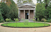 Mausoleum of Queen Louise of Mecklenburg, wife of King Frederick Wilhelm III, designed by Heinrich Gentz after her death in 1810 and later extended by Karl Friedrich Schinkel, in the grounds of the Schloss Charlottenburg or Charlottenburg Palace, built 1695-1713, Charlottenburg, Charlottenburg-Wilmersdorf, Berlin, Germany. The original palace was commissioned by Sophie Charlotte, wife of Friedrich III, and was occupied by Prussian rulers until the late 19th century. After being badly damaged in the war, the palace was restored and is now a major tourist attraction. Picture by Manuel Cohen