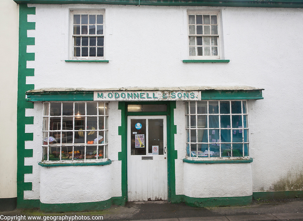 O'Donnell and Sons small shop in Hartland village, Devon, England