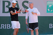 Novak Djokovic (SRB) and Andre Kirk Agassi (USA) new trainer of Novak Djokovic (SRB) at practice on court 5 during the Roland Garros French Tennis Open 2017, preview, on May 25, 2017, at the Roland Garros Stadium in Paris, France - Photo Stephane Allaman / ProSportsImages / DPPI