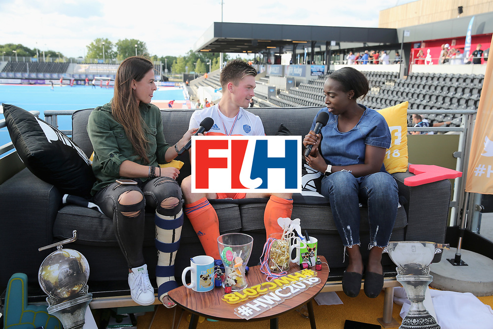 LONDON, ENGLAND - JUNE 25:  Thierry Brinkman of the Netherlands speaks on the social sofa after the final match between Argentina and the Netherlands on day nine of the Hero Hockey World League Semi-Final at Lee Valley Hockey and Tennis Centre on June 25, 2017 in London, England.  (Photo by Alex Morton/Getty Images)