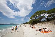 Sunbathing at Plage de Palombaggia.