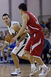 Sani Becirovic (7) of Olimpija vs Nemanja Nedovic at basketball match of 4th Round of NLB League between KK Union Olimpija and KK Crvena zvezda,  on October 24, 2009, Arena Tivoli, Ljubljana, Slovenia.  Union Olimpija won 94:76.  (Photo by Vid Ponikvar / Sportida)