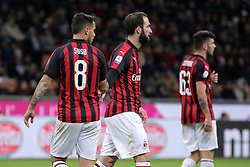 December 9, 2018 - Milan, Milan, Italy - Suso #8 of AC Milan, Gonzalo Higuain #9 of AC Milan and Patrick Cutrone #63 of AC Milan during the serie A match between AC Milan and Torino FC at Stadio Giuseppe Meazza on December 09, 2018 in Milan, Italy. (Credit Image: © Giuseppe Cottini/NurPhoto via ZUMA Press)