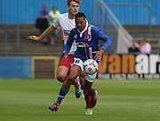 Reggie Lamb attacks during the Pre-Season Friendly match between Barrow and Carlisle United at Holker Street, Barrow, United Kingdom on 23 July 2016. Photo by Pete Burns.