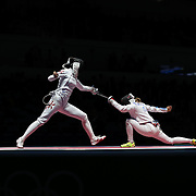 2016 Fencing - Injeong Choi, (left), Republic of Korea, in action against Rossella Fiamingo, Italy, during the Women's Épée Individual Quarterfinal at Carioca Arena 3 on August 6, 2016 in Rio de Janeiro, Brazil. (Photo by Tim Clayton/Corbis via Getty Images)