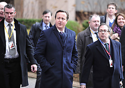 British Prime Minister David Cameron arrives at European Union (EU) headquarters for an EU summit in Brussels, capital of Belgium, Feb. 7, 2013. Top leaders of the European Union (EU) have been scheduled for tough negotiations over the bloc s seven-year budget scheme as a two-day summit is to kick off on Thursday afternoon in Brussels, February 7, 2013. Photo by Imago / i-Images...UK ONLY
