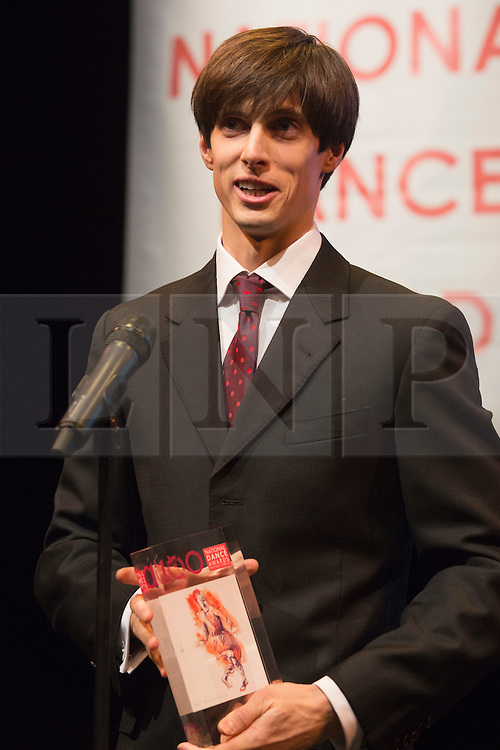 © Licensed to London News Pictures. 26/01/2015. London, England. Xander Parish winner of the Outstanding Male Performance (classical) award for his role as Apollo for Mariinsky Ballet. The Critic's Circle National Dance Awards 2014 take place at The Place in London, UK. Photo credit: Bettina Strenske/LNP