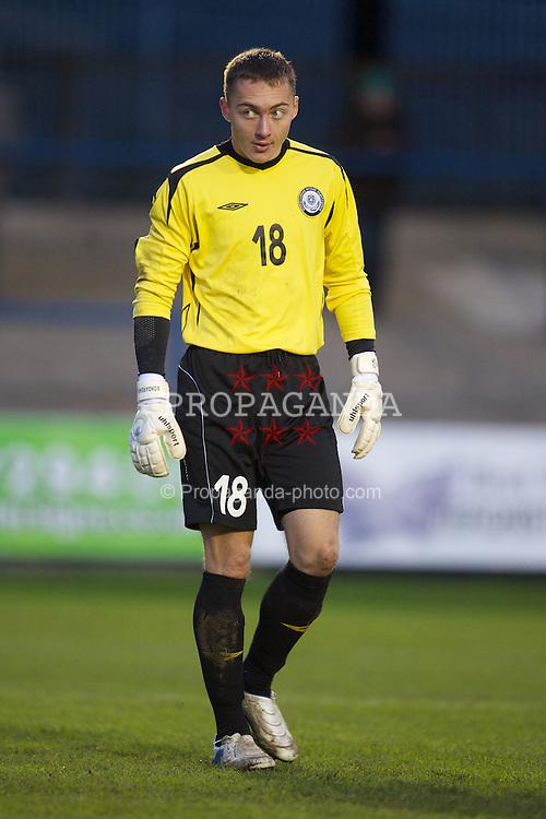 BRIDGEND, WALES - Monday, October 25, 2010: Kazakhstan's goalkeeper Yaroslav Bondarenko in action against Wales during the UEFA Under-19 Championship Qualifying Group 1 match at Brewery Field. (Pic by: David Rawcliffe/Propaganda)