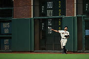 San Francisco Giants right fielder Hunter Pence (8) chases down a ball hit off the right field wall by the Cincinnati Reds at AT&T Park in San Francisco, California, on May 11, 2017. (Stan Olszewski/Special to S.F. Examiner)