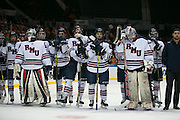Robert Morris University players listen during the awards ceremony after a loss to RIT in the Atlantic Hockey final at the Blue Cross Arena in Rochester on Saturday, March 19, 2016.