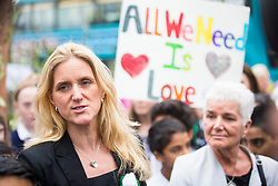 © Licensed to London News Pictures. 16/06/2017. Birstall, UK. Jo Cox's sister Kim Leadbeater & mother Jean Leadbeater attend the Big get together in Birstal market where Jo Cox was killed last year. Today marks the one year anniversary of the death of Labour MP for Batley & Spen Jo Cox. Jo Cox died after being shot & stabbed by Thomas Mair outside Birstall library where she had been due to hold a constituency surgery. Photo credit: London News Pictures