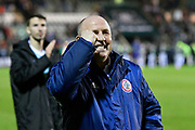 Accrington Stanley manager John Coleman celebrates in front of the travelling fans at full time after a 3-0 win over Plymouth Argyle during the EFL Sky Bet League 1 match between Plymouth Argyle and Accrington Stanley at Home Park, Plymouth, England on 22 December 2018.