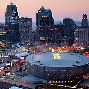 Downtown Kansas City, Missouri skyline aerial view, Sprint Center arena in foreground.