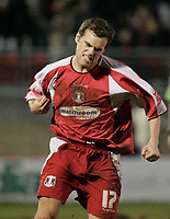 Daryl McMahon celebrates after scoring.<br /> Leyton Orient v Northampton Town, Coca Cola League 2, London. 14/01/06 Photo by Barry Bland