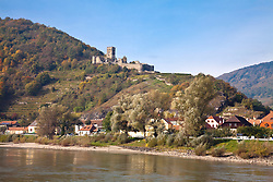 Wachau Valley, Austria:  Fortress of Hinterhaus overlooks Spitz, on the Danube River between Melk and Durnstein.  This is a noted wine-growing region; note the terracedd vineyards.