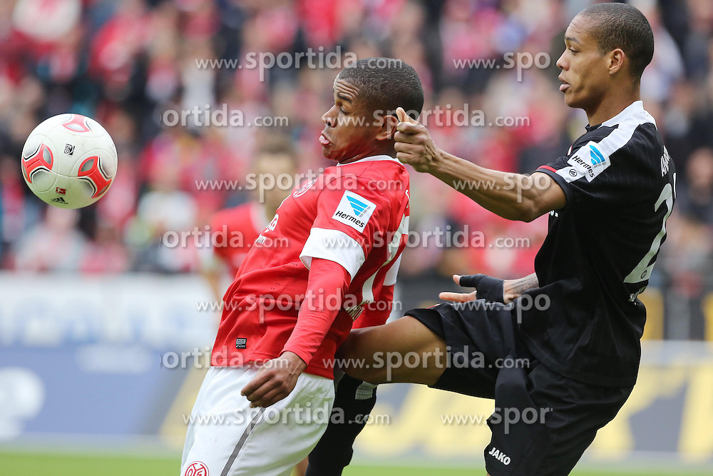28.04.2013, Coface Arena, Mainz, GER, 1. FBL, 1. FSV Mainz 05 vs Eintracht Frankfurt, 31. Runde, im Bild Chindeu Ede (Maimnz) gegen Bamba Anderson (Eintracht) // during the German Bundesliga 31th round match between 1. FSV Mainz 05 and Eintracht Frankfurt at the Coface Arena, Mainz, Germany on 2013/04/28. EXPA Pictures © 2013, PhotoCredit: EXPA/ Eibner/ Neurohr..***** ATTENTION - OUT OF GER *****