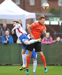 RICHARD BUNTING RUSHDEN &amp; DIAMOND BATTLES WITH KIDSGROVE ATHLETIC DANIEL SKELTON,   AFC Rushden &amp; Diamonds v Kidsgrove Athletic FA Challenge Trophy, Hayden Road Rushden Saturday 7th October 2017<br /> Score 1-3 Photo:Mike Capps