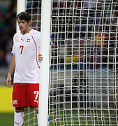Tranquillo BARNETTA defends the near post during the 2010 FIFA World Cup South Africa Group H match between Spain and Switzerland at Durban Stadium on June 16, 2010 in Durban, South Africa.