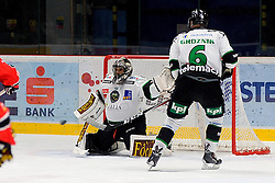 26.10.2014, Hostan Arena, Znojmo, CZE, EBEL, HC Orli Znojmo vs HDD Telemach Olimpija Ljubljana, 14. Runde, im Bild v.l. Andy Chiodo (HDD TELEMACH Olimpija Ljubljana) Bostjan Groznik (HDD TELEMACH Olimpija Ljubljana) // during the Erste Bank Icehockey League 14th round match between HC Orli Znojmo and HDD Telemach Olimpija Ljubljana at the Hostan Arena in Znojmo, Czech Republic on 2014/10/26. EXPA Pictures © 2014, PhotoCredit: EXPA/ Rostislav Pfeffer