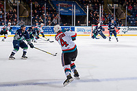 KELOWNA, CANADA - JANUARY 5: Gordie Ballhorn #4 of the Kelowna Rockets shoots the puck from the point against the Seattle Thunderbirds on January 5, 2017 at Prospera Place in Kelowna, British Columbia, Canada.  (Photo by Marissa Baecker/Shoot the Breeze)  *** Local Caption ***