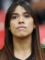 fan of Colombia, wife of Colombia goalkeeper Camilo Vargas during the 2018 FIFA World Cup Russia round of 16 match between Columbia and England at the Spartak stadium  on July 03, 2018 in Moscow, Russia