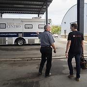 OCTOBER 6, 2017--PONCE, PUERTO RICO ---<br /> Allan Cintron Salichs, Executive Director of Med Centro in Ponce, leads Direct Relief's Damon Taugher to an air conditioned storage facility on their property.<br /> (Photo by Angel Valentin/Freelance)