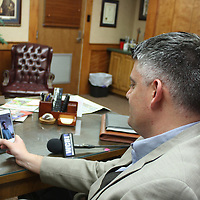 JOHN WARD/BUY AT PHOTOS.MONROECOUNTYJOURNAL.COM<br /> Amory Mayor Brad Blalock has a Facetime call with Amery, Wisconsin fifth-grade teacher Michael Simonson and his class lasat week as part of the Amery2Amory project.