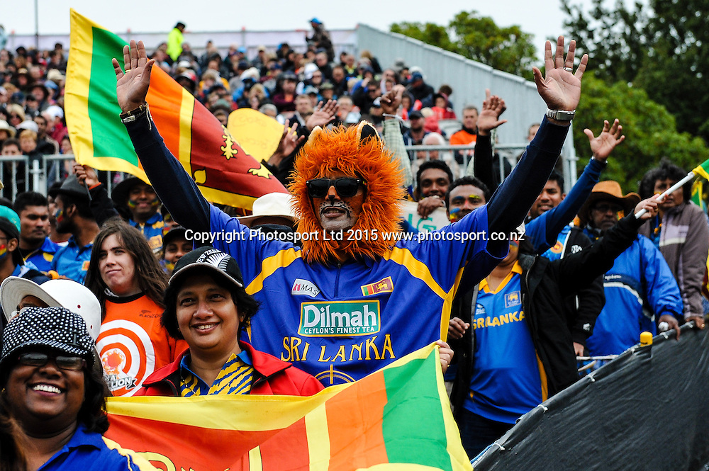Fans during the ICC Cricket World Cup match between New Zealand and Sri Lanka at Hagley Oval in Christchurch, New Zealand. Saturday 14 February 2015. Copyright Photo: John Davidson / www.Photosport.co.nz
