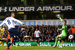 Tottenham's forward Harry Kane scores a goal as Sunderland's goalkeeper Vito Mannone looks on  - Photo mandatory by-line: Mitchell Gunn/JMP - Tel: Mobile: 07966 386802 07/04/2014 - SPORT - FOOTBALL - White Hart Lane - London - Tottenham Hotspur v Sunderland - Premier League