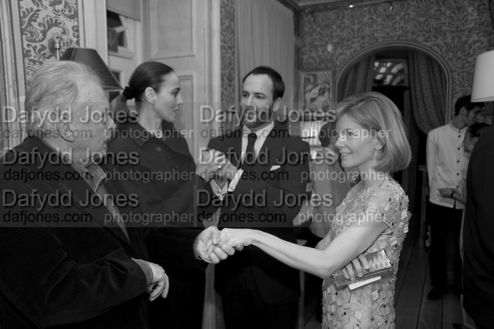 DAVID BAILEY; CATHERINE BAILEY; TOM FORD; ANNA CARTER; , Graydon Carter hosts a diner for Tom Ford to celebrate the London premiere of ' A Single Man' Harry's Bar. South Audley St. London. 1 February 2010
