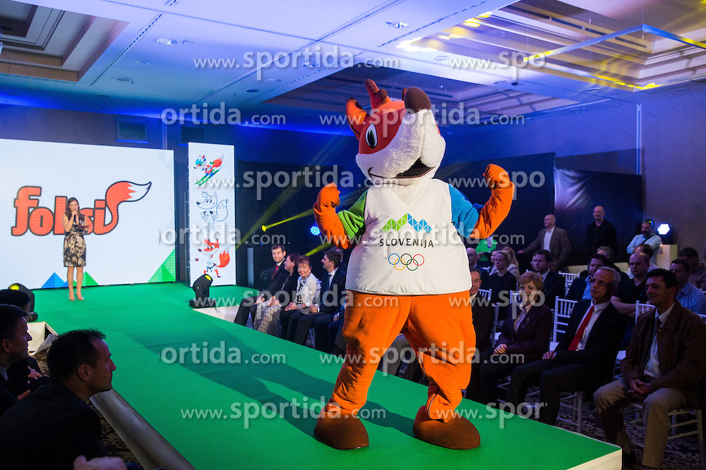 OKS's mascot Foksi during official presentation of the Designer wear for Slovenian Athletes at Rio Summer Olympic Games 2016, on April 15, 2016 in Hotel Lev, Ljubljana, Slovenia. Photo by Vid Ponikvar / Sportida