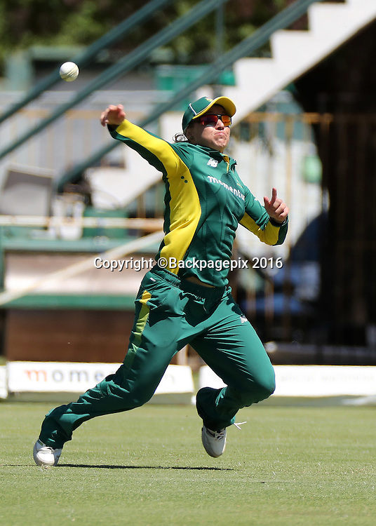Mignon du Preez of South Africa during the 2016 International ODI Womens cricket match between South Africa and New Zealand at Boland Park, Paarl on 19 October 2016 ©Chris Ricco/BackpagePix