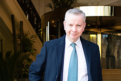 © Licensed to London News Pictures. 04/02/2019. London, UK. Chancellor of the Duchy of Lancaster Michael Gove departs Four Millbank after appearing on BBC Radio 5 live. Photo credit: George Cracknell Wright/LNP