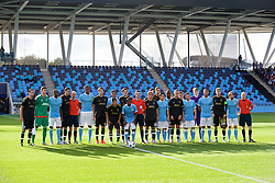 MANCHESTER, ENGLAND - Tuesday, September 15, 2015: Manchester City and Juventus players before the UEFA Youth League Group D match at the City of Manchester Stadium. (Pic by David Rawcliffe/Propaganda)