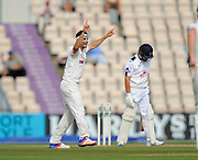 Jack Brooks of Yorkshire celebrates taking the wicket of Gareth Berg of Hampshire during the Specsavers County Champ Div 1 match between Hampshire County Cricket Club and Yorkshire County Cricket Club at the Ageas Bowl, Southampton, United Kingdom on 1 September 2016. Photo by Graham Hunt.