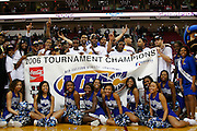 The Hampton Pirates celebrate winning the 2006 MEAC Basketball Tournament at the RBC Center in Raleigh, North Carolina.  March 11, 2006  (Photo by Mark W. Sutton)