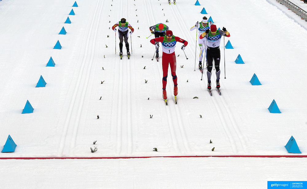 Winter Olympics, Vancouver, 2010.Petter Northug, Norway (1), Winning the Gold Medal, Axel Teichmann, Germany, (6) SIlver, Johan Olsson, Sweden, (18) Bronge, Tobias Angerer, Germany, (19) finished fourth, while Devon Kershaw, Canada, (28) finished fifth. in the Cross Country Skiing, Men's 50 KM Mass start at Whistler Olympic Park, Whistler, during the Vancouver Winter Olympics. 28th February 2010. Photo Tim Clayton
